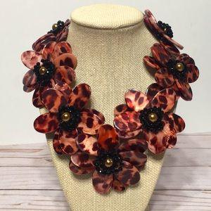 Floral statement necklace Cheetah NEW handmade